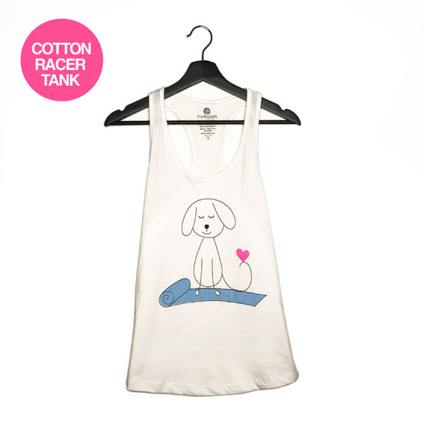 YOGA DOG ~ WHITE COTTON RACER TANK