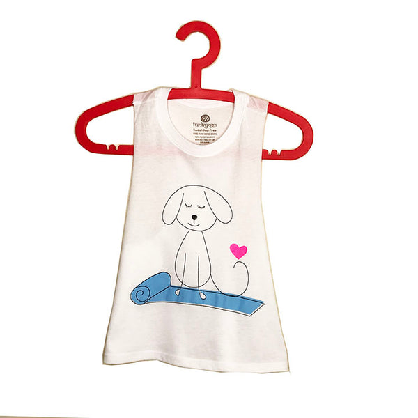 YOGA DOG ~ WHITE CROPPED RACER TANK