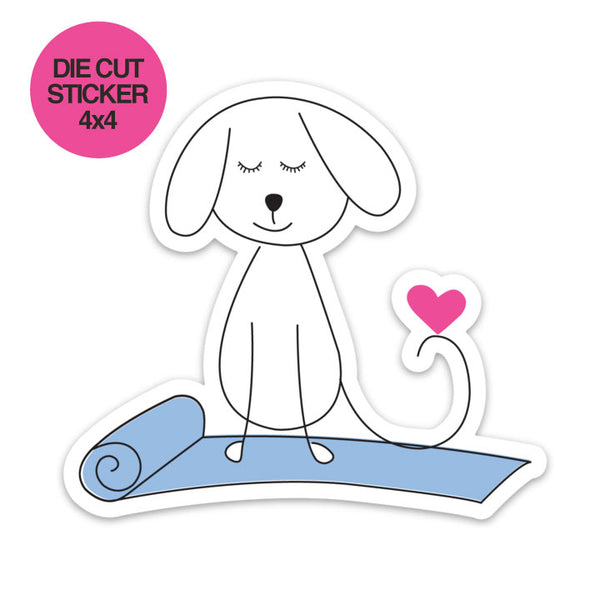 YOGA DOG ~  4 X 4 DIE CUT VINYL STICKER