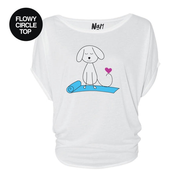 DOGS LOVE YOGA ~WHITE FLOWY CIRCLE TOP