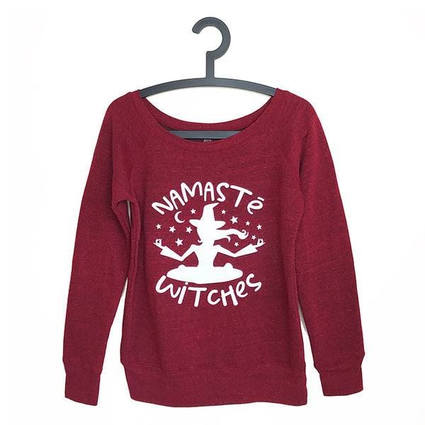NAMASTE WITCHES ~ RED OFF THE SHOULDER TRI BLEND FLEECE