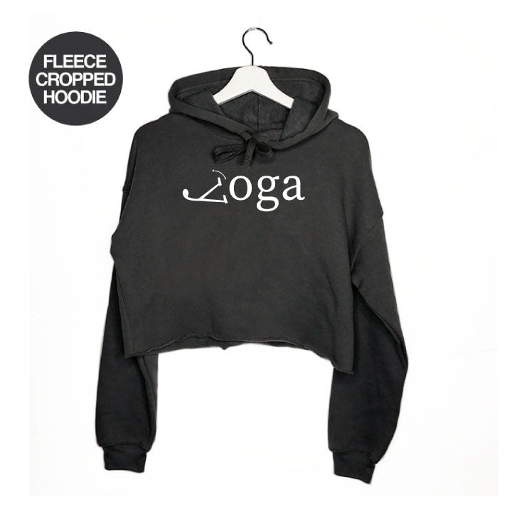 YOGA LEGS ~ DARK HEATHER GREY FLEECE CROPPED HOODIE