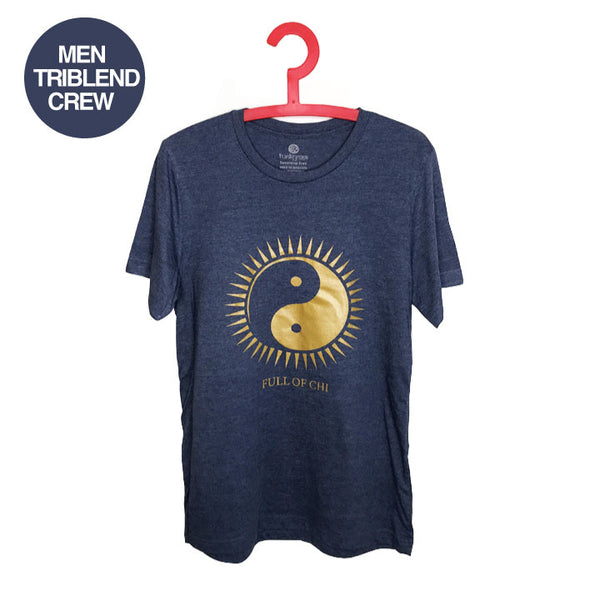 FULL OF CHI ~ HEATHER NAVY MENS TRIBLEND CREW T-SHIRT