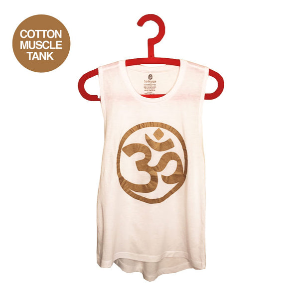 OM GOLD ~ WHITE FLOWY MUSCLE TANK
