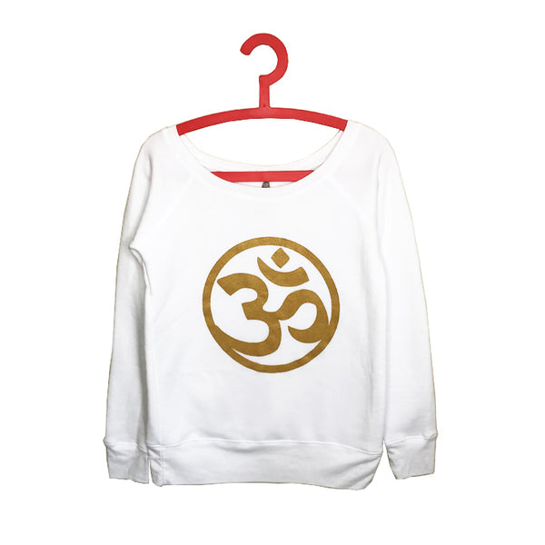 OM GOLD ~ WHITE OFF THE SHOULDER TRI BLEND FLEECE