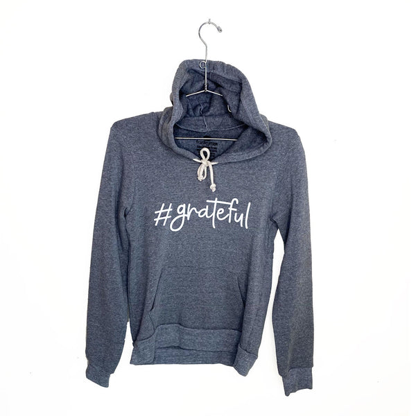HASHTAG GRATEFUL ~  HEATHER GREY FLEECE TRIBLEND HOODIE
