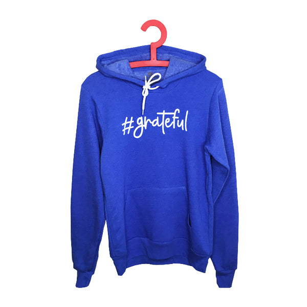 HASHTAG GRATEFUL ~ HEATHER ROYAL WOMEN FLEECE TRIBLEND HOODIE
