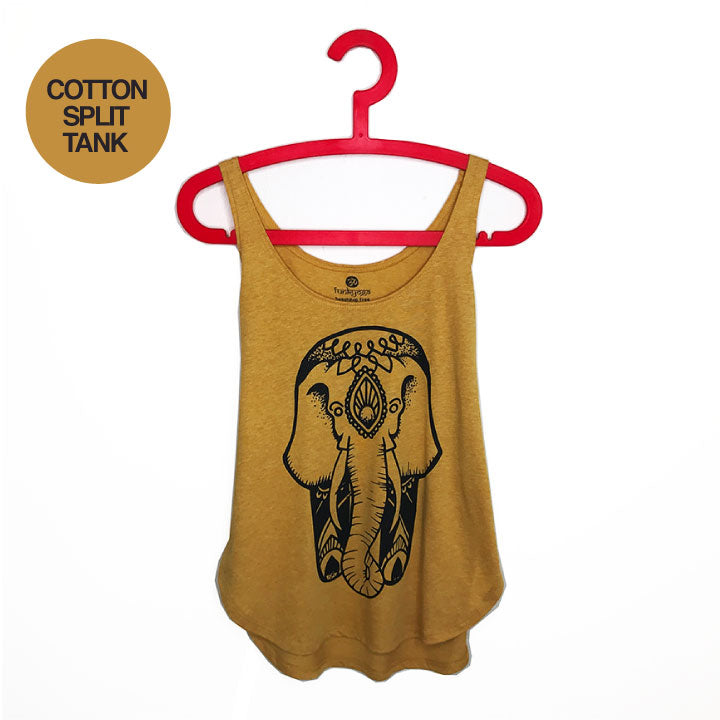 ZEN ELEPHANT ~ MUSTARD COTTON SPLIT TANK