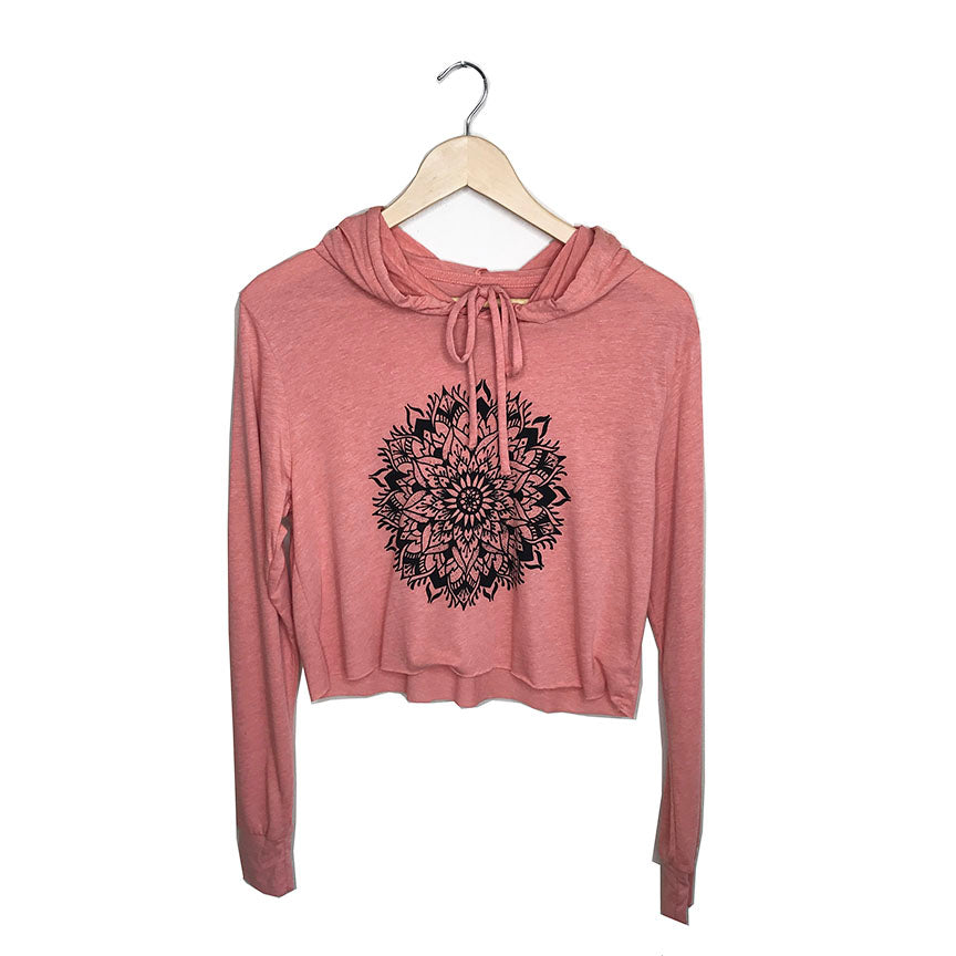 MANDALA ~ HEATHER SUNSET COTTON CROPPED HOODIE
