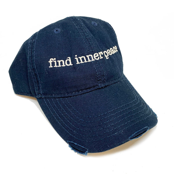 FIND INNER PEACE ~ BLACK DISTRESSED TRUCKER CAP
