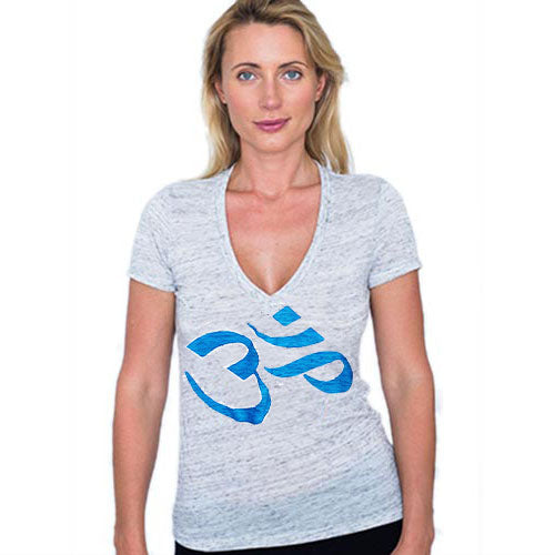 BLUE OM ~ MARBLE FLOWY V-NECK TEE