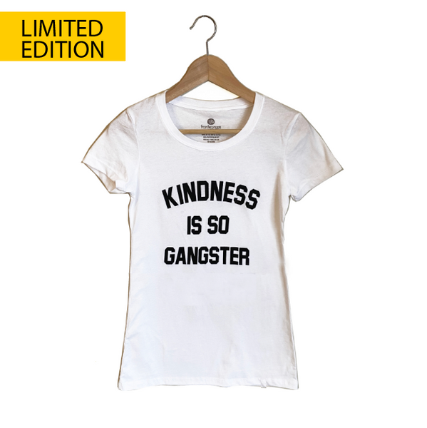 KINDNESS IS SO GANSTER ~ OPEN NECK COTTON SHEER TEE