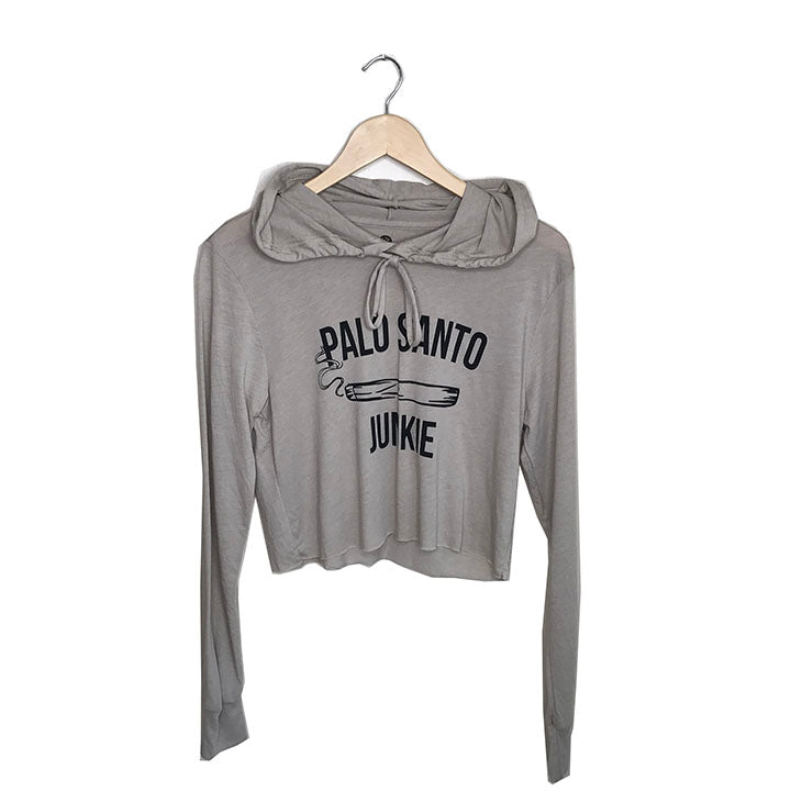 PALO SANTO JUNKIE ~ HEATHER SAND COTTON CROPPED HOODIE