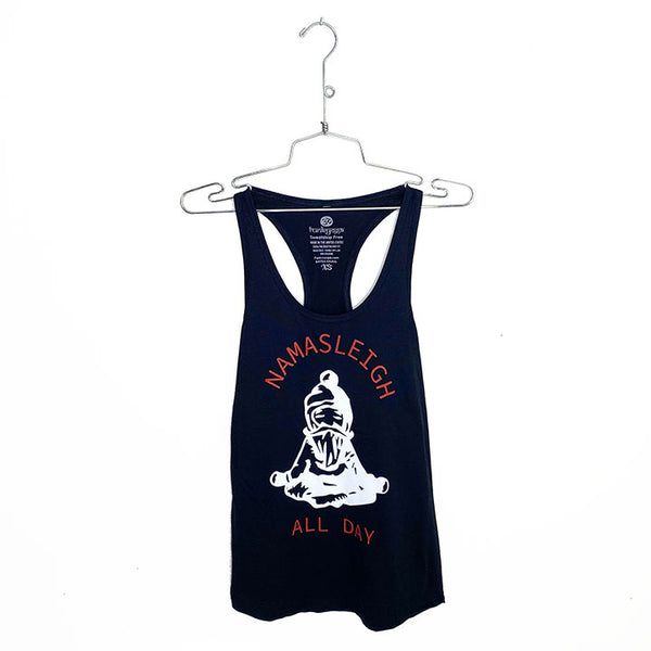 NAMASLEIGH ALL DAY ~ BLACK COTTON RACER TANK (Only XS)