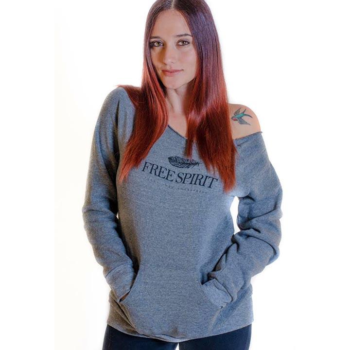 Free Spirit Ambassador  Raw Neck Triblend Fleece Sweatshirt - Funky Yoga  Gear & Accessories