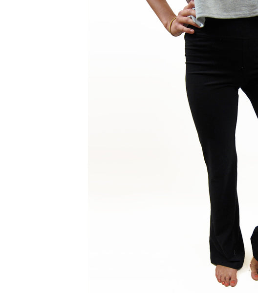 BIRD OF PARADISE ~ BLACK COTTON SPANDEX LONG PANT (Only Medium)
