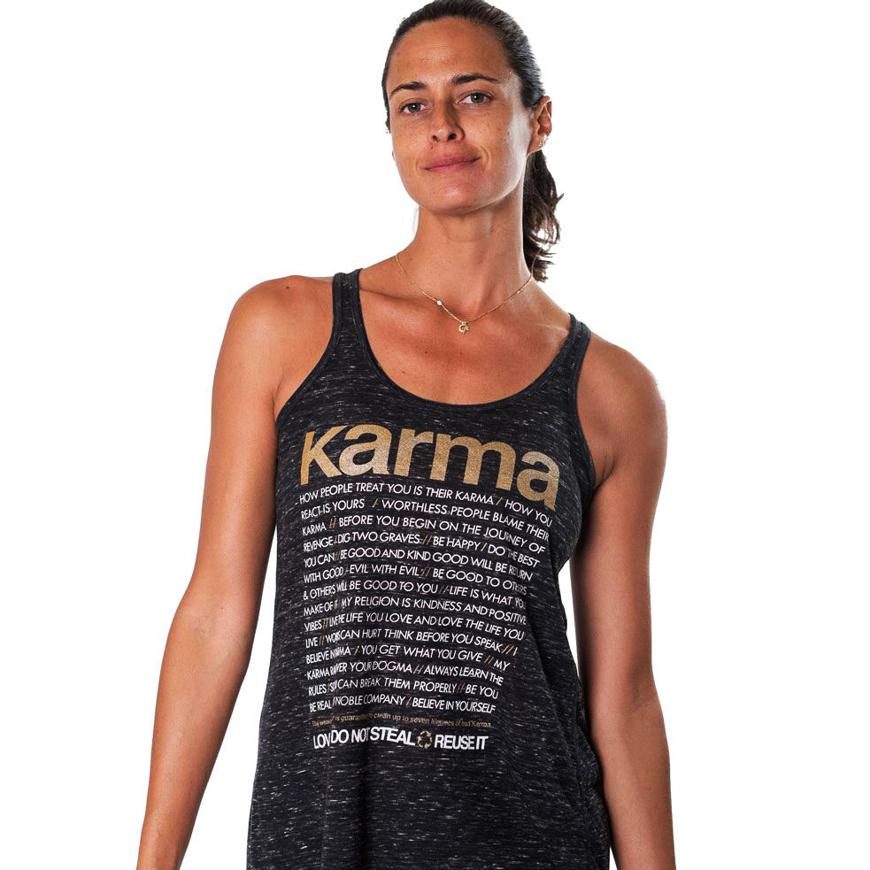 KARMA QUOTES ~ MARBLE BLACK FLOWY RACER TANK