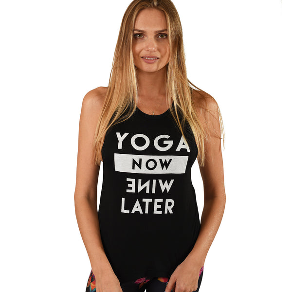 YOGA NOW BLACK FLOWY MUSCLE TANK