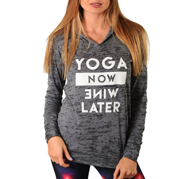 YOGA NOW WINE LATER ~ DARK GREY BURNOUT HOODIE