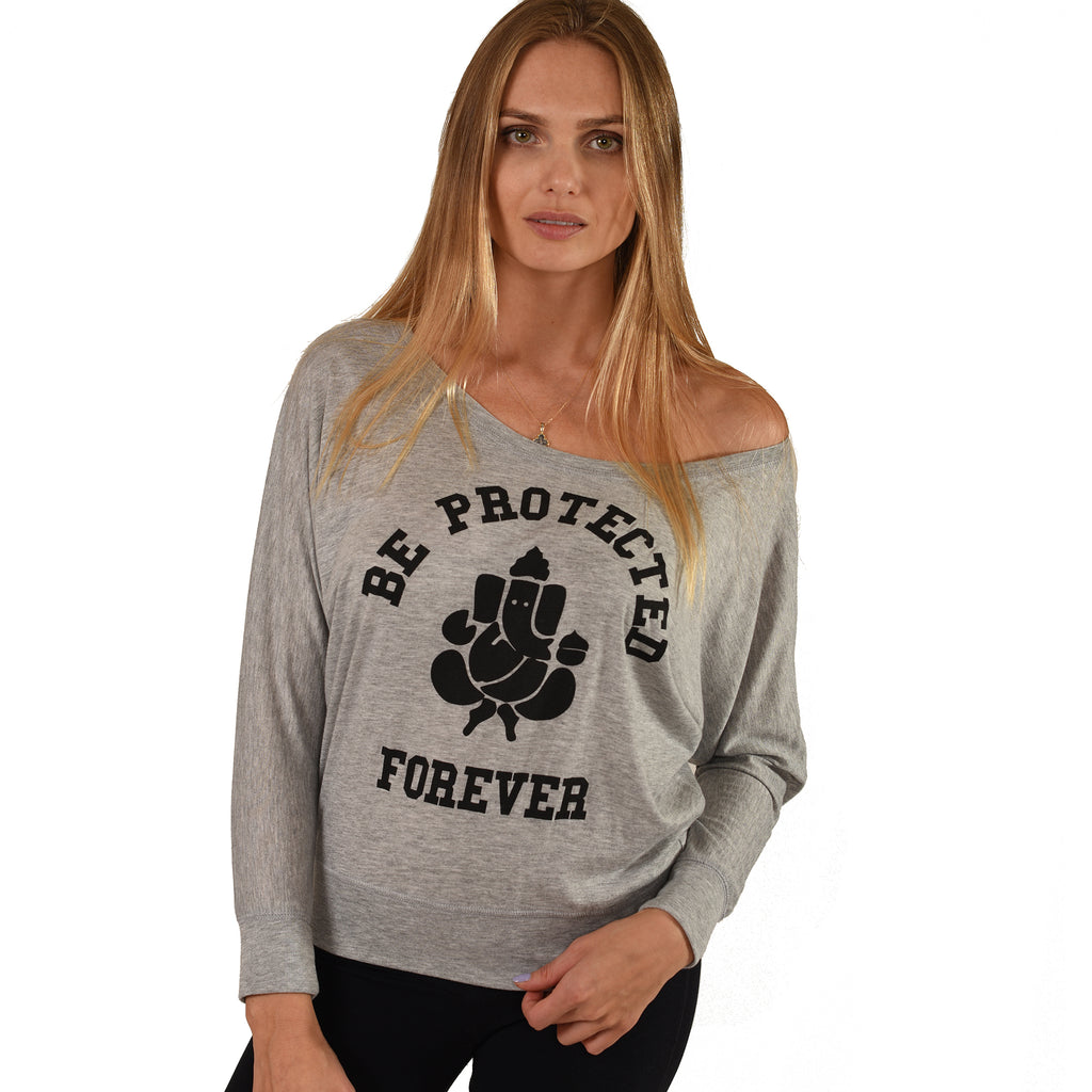 BE PROTECTED ~ HEATHER GREY FLOWY LONG SLEEVES