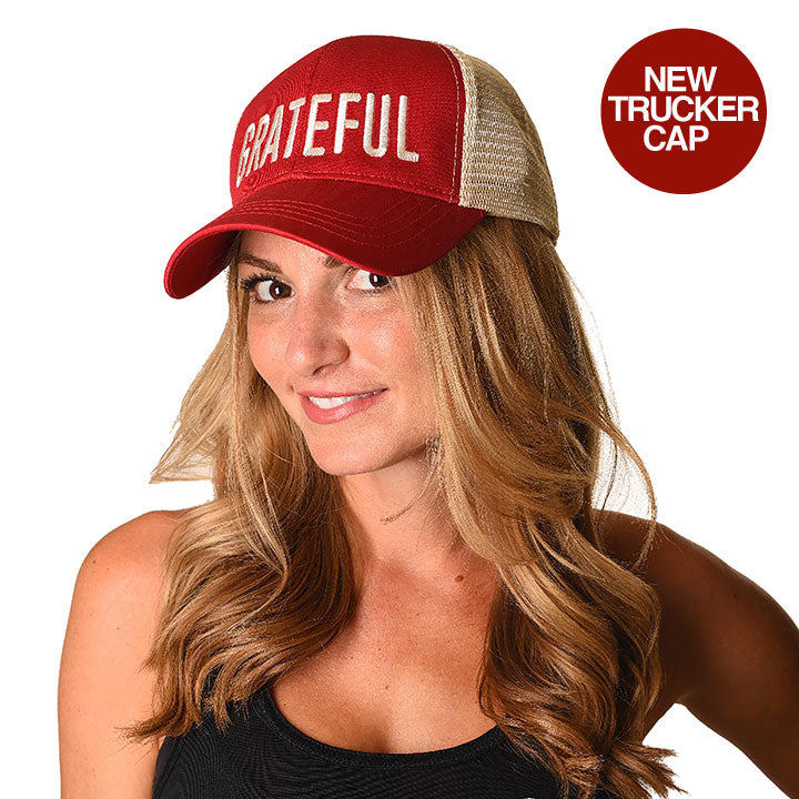 GRATEFUL RED ECO UNISEX TRUCKER MESH CAP - Funky Yoga  Gear & Accessories