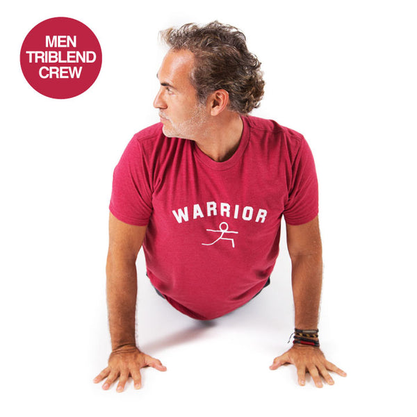 WARRIOR POSE ~ HEATHER RED MEN TRIBLEND FITTED CREW