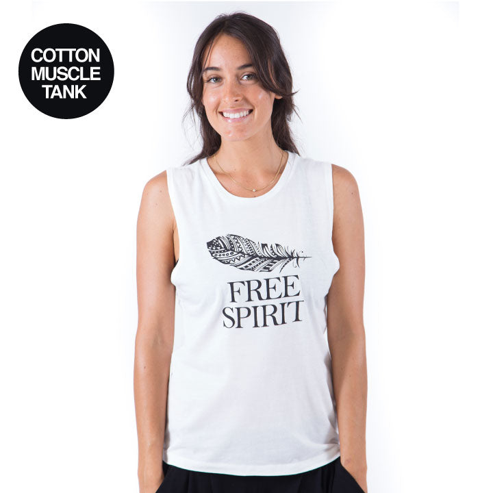 FREE SPIRIT  - WHITE COTTON MUSCLE TANK