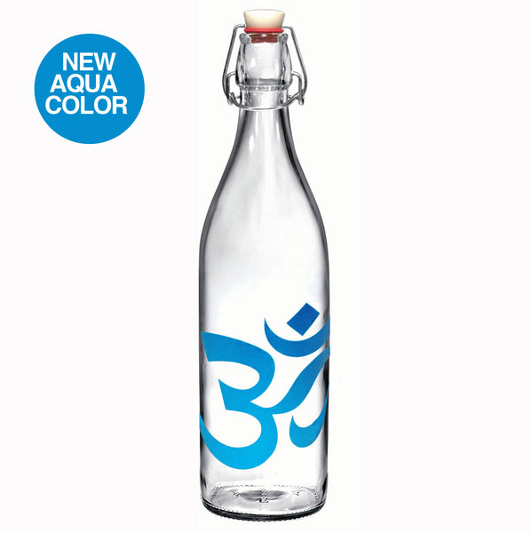 34 oz Om Aqua Glass Round Bale Wire Bottle