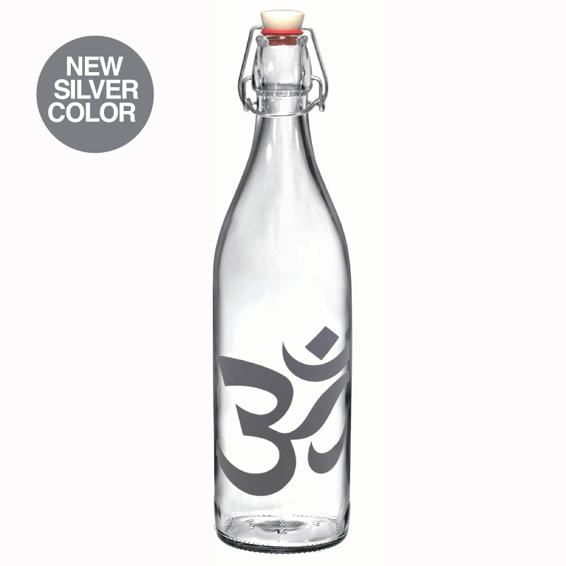 34 oz Om Silver Glass Round Bale Wire Bottle - Funky Yoga  Gear & Accessories