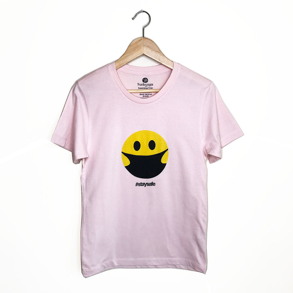 STAY SAFE HAPPY MASK ~ UNISEX FADED PINK SHEER CREW T-SHIRT