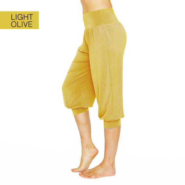 NAMASTE BASICS ~ LIGHT OLIVE HAREM VISCOSE CAPRI