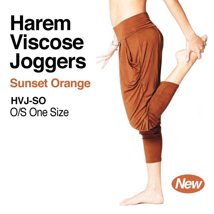 SUNSET ORANGE ~ HAREM VISCOSE JOGGER PANT WITH POCKETS