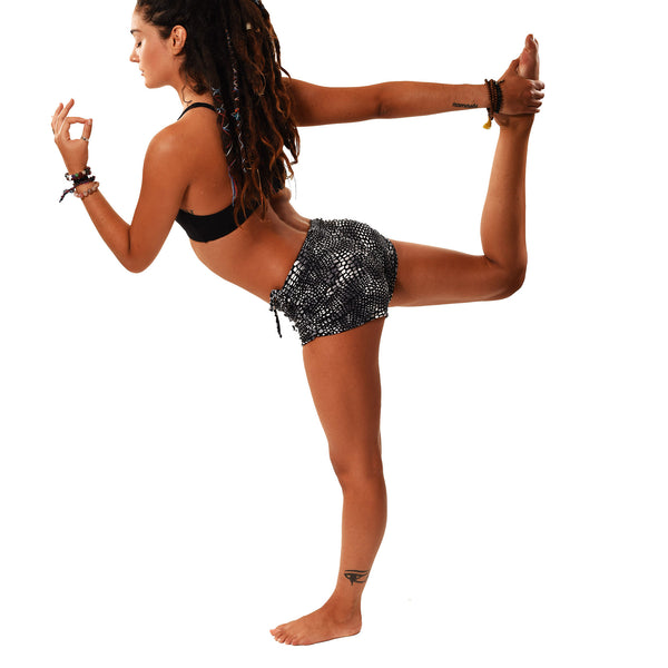 BLACK PYTHON RECYCLED HOT YOGA SHORTS - Funky Yoga  Gear & Accessories