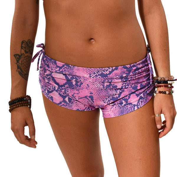 PINK PYTHON RECYCLED HOT YOGA SHORTS