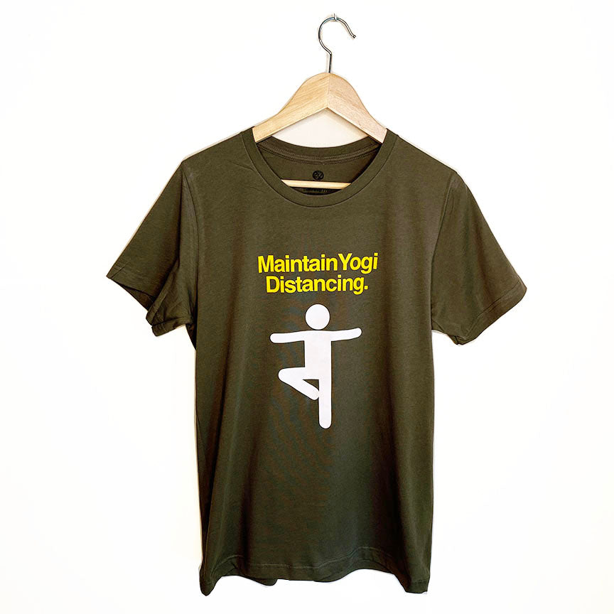 MAINTAIN YOGI DISTANCING ~ WARM HEATHER GREY/ DARK OLIVE  TRIBLEND CREW T-SHIRT