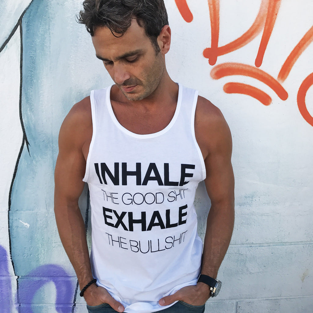 INHALE MENS WHITE JERSEY TANK - Funky Yoga  Gear & Accessories