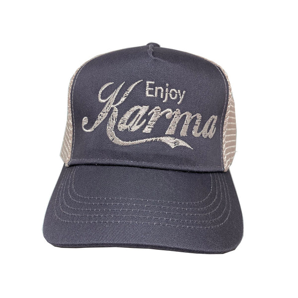 ENJOY KARMA ~ DARK GREY ECO UNISEX TRUCKER MESH CAP