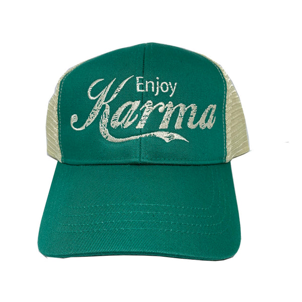 ENJOY KARMA ~ KELLY GREEN ECO UNISEX TRUCKER MESH CAP