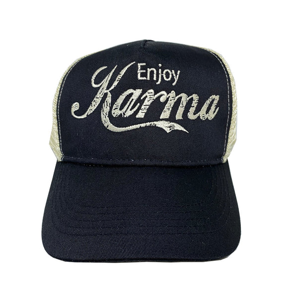 ENJOY KARMA ~ BLACK / NAVY ECO UNISEX TRUCKER MESH CAP
