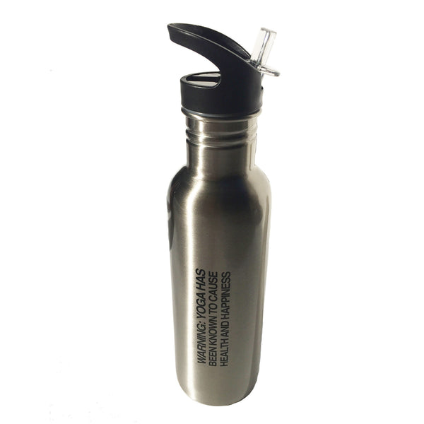 NAMASTE METALLIC SILVER STAINLESS STEEL BOTTLE 26oz