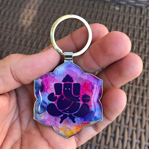 GANESH COLORS - SILVER PLATED FUNKY KEYCHAIN