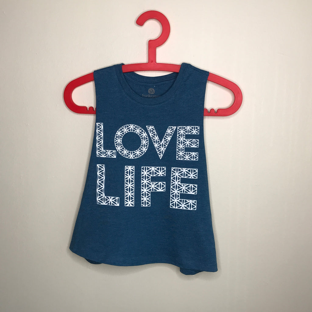 LOVE LIFE ~ HEATHER TEAL CROPPED RACER TANK PRINTED BACK
