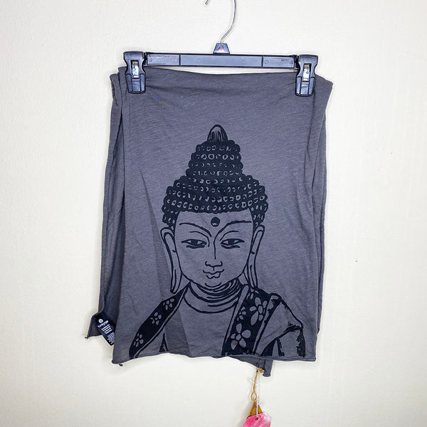 BUDDHA ~ DARK GREY PRINTED UNISEX COTTON SCARF