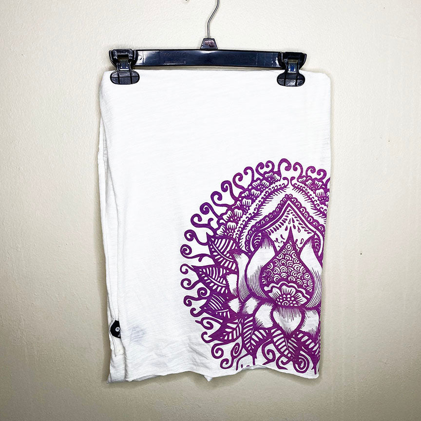 LOTUS TATOO ~ WHITE PRINTED UNISEX COTTON SCARF