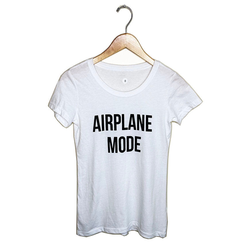 AIRPLANE MODE ~ OPEN NECK COTTON SHEER TEE