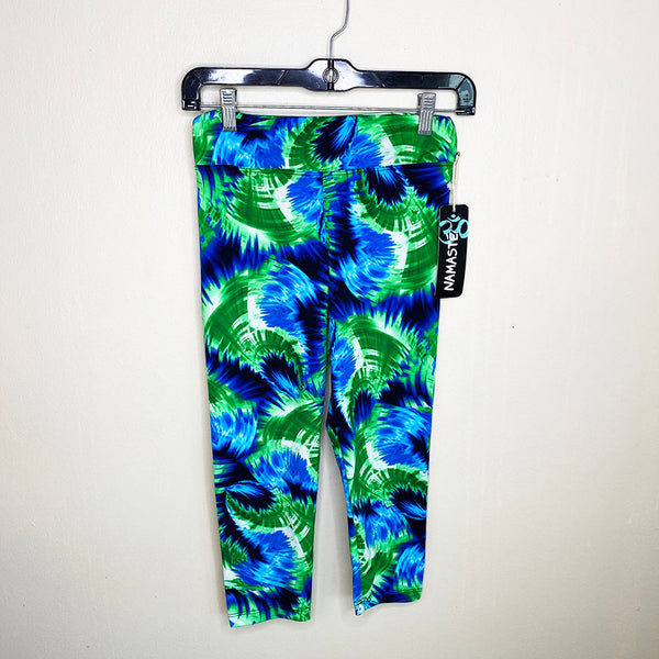 JUNGLE GREEN ~  FUNKY SPANDEX YOGA CAPRI PANTS