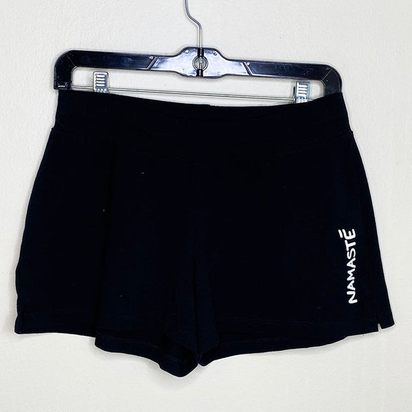 NAMASTE ~ BLACK COTTON SPANDEX YOGA SHORTS