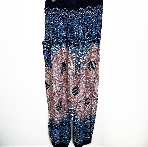 BEIGE & BLACK MANDALA - THAI HAREM POCKET PANTS