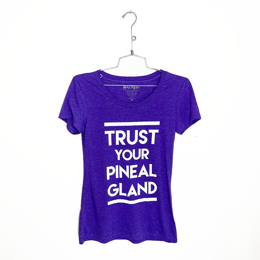 TRUST YOUR PINEAL GLAND ~ HEATHER PURPLE WIDE NECK TEE