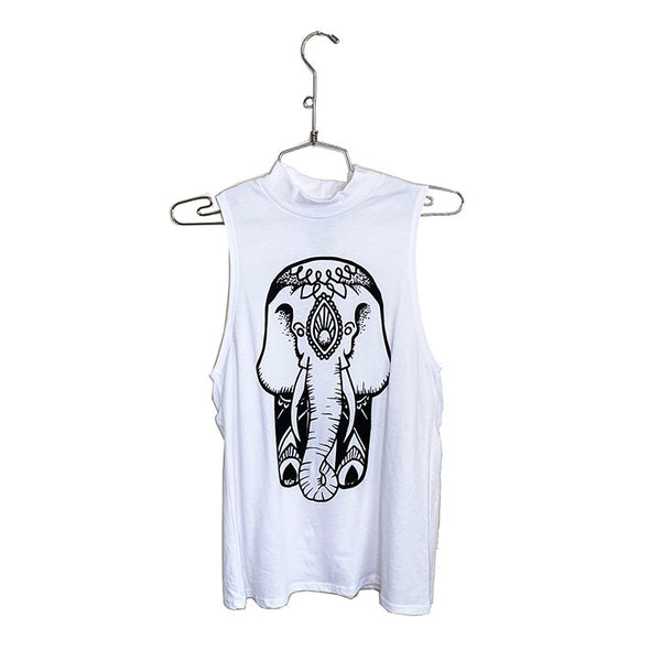 ZEN ELEPHANT~ WHITE TURTLE NECK MUSCLE TANK